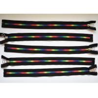 Cheap Plastic Type Sewing Notions Zippers , rainbow teeth multi colored zipperr for for sale