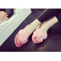 Best Pretty Womens Thong Slippers , Summer Flip Flops Plastic Upper With Three Flowers wholesale