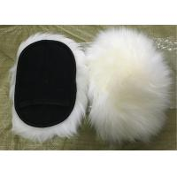 Best Natural White Wool Sheepskin Car Wash Mitt Single Side With Mesh Back wholesale