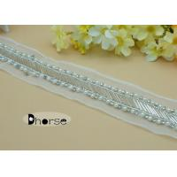 Best Handmade Mesh Sewing White Pearl Beaded Trim By The Yard For Garment wholesale