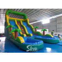 Buy cheap 25' high tropical double lane inflatable water slide with double pool from China from wholesalers