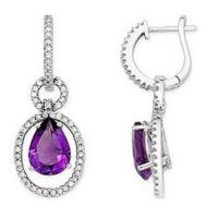 Buy cheap Amethyst and Diamond 14K White Gold Drop Earrings from wholesalers