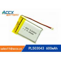 Best 503043 pl503043 3.7v 600mah lithium polymer battery with pcm and jst conector battery rechargeable li-ion wholesale