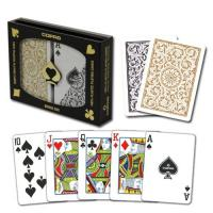 China XF Brazil Copag 1546 Bridge Regular Index Black and Gloden Double Deck plastic poker in Texas Holdem Poker Analyzer on sale