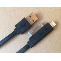 Best Black 2 In 1 IPhone Flat Micro USB Cable TPE For Sync Data / Charging wholesale