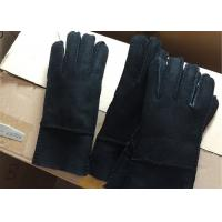 Best Double Breathable Ladies Black Leather Sheepskin Lined Gloves For Cell Phone Use  wholesale