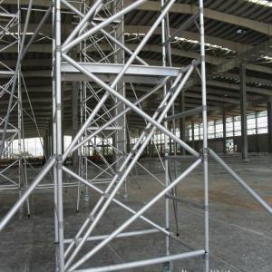 Hot Dip Galvanized Frame Scaffolding System , Strong Silver Ladder Frame Scaffolding