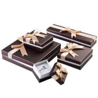 Best Stylish Design Cardboard Jewelry Gift Boxes With Bow Velvet Foam Insert wholesale
