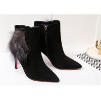 Best Pointed Toe Ankle Length Boots Sheep Suede High Heel Ankle Shoes With Fox Fur Ornaments wholesale