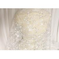 Best White Floral Embroidery Corded Lace Fabric With Beads And Sequins For Wedding Dress wholesale