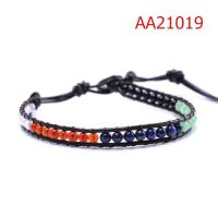 Cheap Customized Handmade 17cm Black Crystal Stone Beaded Leather Wrap Bracelets for sale