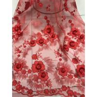 Best Red 3D Flower Embroidered Tulle Lace Fabric / Wedding Dresses Sequins Beaded Lace wholesale