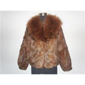 China Rabbit fur coat with raccon fur collar on sale