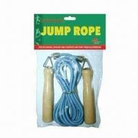 China Jump rope, handle made of wood, adjustable length on sale