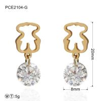 Best Rust-proof Diamond Stainless Steel Gold Plated Earrings for Lady wholesale