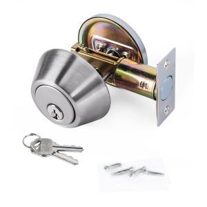 Best High Security SUS304 Single Cylinder Deadbolt Door Locks Plated Nickel Finish wholesale