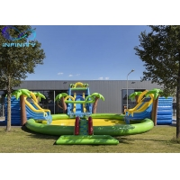 Best Outdoor Funny Inflatable maga jungle Water Park Bouncer Slide with water pool For Sale wholesale