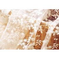 Best White Flower Embroidered Nylon Mesh Lace Fabric , Wedding Bridal Dress Lace Fabric wholesale