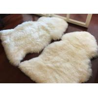 Best Living Room Soft White Fur Floor Rug , Smooth Wool Sheepskin Car Seat Covers  wholesale