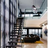 Best European classic stair black wood steel staircase with patch fitting glass railing wholesale