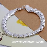 Best Silver tone mens high class plain silver bracelet wholesale
