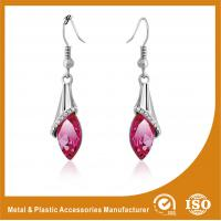 Best Rhinestone / Pink Stone Long Earrings Nickel Free Lead Free 4.5cm wholesale