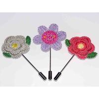 Best Knitted Fabric Handmade Flower Brooch 1.77*3.54 Inch For Suit Wedding Groom wholesale