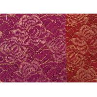 Best Red Golden Embroidery Sequin Lingerie Lace Fabric For Wedding Dress , Decoration Lace Fabric wholesale
