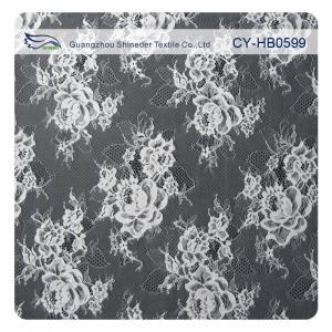 China Custom Elastic Bridal Eyelash Lace Trim , White Bridal Lace Fabric on sale