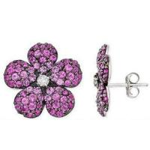 Best Pink Sapphire & Diamond Flower Earrings wholesale