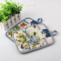Best Terry Cloth Cotton Kitchen Dual Useage Pot Holder / Kitchen Oven Mitts with Flower Printed wholesale