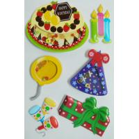 China Colored Birthday Cake 3d Birthday Stickers , Personalised Kids Stickers Removable on sale