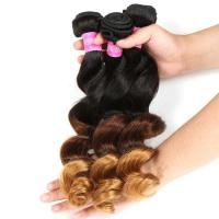 Blonde 3 Tone Remy Ombre Hair Extensions Brazilian Hair Loose Wave 1b / 4 / 27