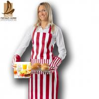 Best Stripe Printed Canvas Personalised Kitchen Aprons Bib Aprons With Pockets wholesale