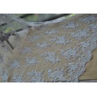 Best Floral Beaded Corded Lace Fabric , Ivory Embroidered Lace Fabric With Wavy Edging wholesale