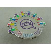 Best Die Struck Iron Epoxy Award Soft Enamel Pin , Silver Club Badges With 3D Logo wholesale