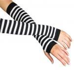 Best White + Black Stripe Ladies Long Fingerless Gloves Pattern For Knitted Arm Warmers wholesale