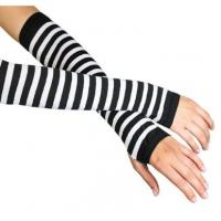 Best White + Black Stripe Ladies Long Fingerless Gloves Pattern For Knitted Arm Warmers wholesale