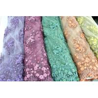 Best Beaded Embroidered Mesh Lace Fabrics, 3D Floral Lace Fabrics For Evening Dresses wholesale