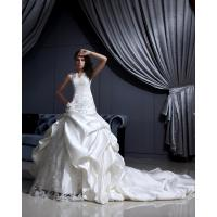 China Sweep Train V Neck Satin and Lace Empire Line Wedding Dresses with Applique , Ivory on sale