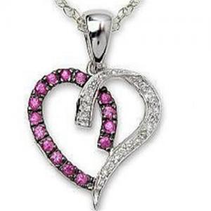 Best Pendant Pink Sapphire & Diamond Heart Pendant & Black Rhodium wholesale