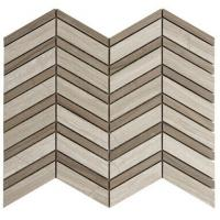 China Herringbone Marble Mosaic Tile Grey White Color With Wooden Grain on sale