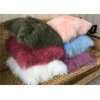 Best Real Tibetan Lambskin Colorful Furry Mongolian Sheep Fur Throw Pillows wholesale