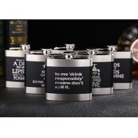 Best Black Kitchen Household Items 6oz Flat Stainless Steel Hip Flask Laser Lettering wholesale