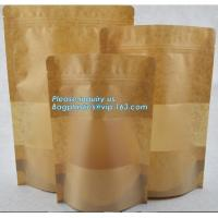 Best Square Bottom Gusseted Resealable Kraft Paper Stand Up Pouch Rice Packaging Bag With Zipper And Window BAGEASE PACKAGE wholesale