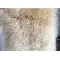 Cheap 120*180cm Long Wool Real Mongolian Fur Fabric , White Sheepskin Rug For Nursery for sale