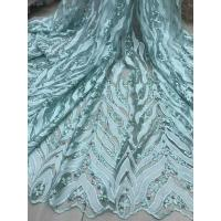 Best Beaded Embroidered Lace Fabric , 3D Flower Lace Mesh Fabrics For Evening Gowns wholesale
