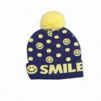 Best Children's jacquard knitted hat with pompon and reversed edge wholesale