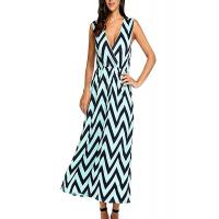 Best Zig Zag Summer Holiday Maxi Dresses ,Elastic Waist Maxi Dresses For Short Ladies wholesale