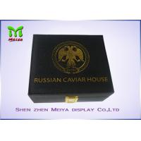 Cheap MDF PU Leather covered Caviar Gift Packaging Boxes With Logo Foil Stamping for sale